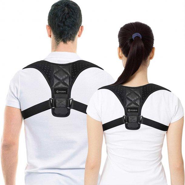 En holdningskorrigerende rygstøtte aflaster rygmuskulaturen.